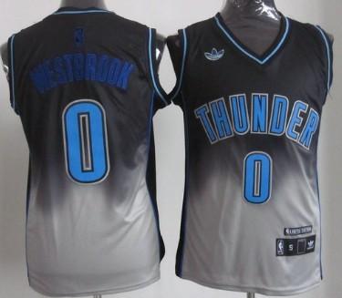 Oklahoma City Thunder #0 Russell Westbrook Black/Gray Fadeaway Fashion Jersey