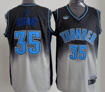 Oklahoma City Thunder #35 Kevin Durant Black/Gray Fadeaway Fashion Jersey