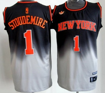 New York Knicks #1 Amare Stoudemire Black/Gray Fadeaway Fashion Jersey