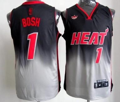Miami Heat #1 Chris Bosh Black/Gray Fadeaway Fashion Jersey