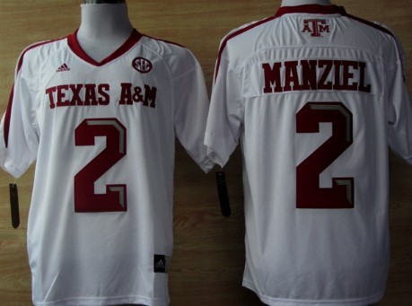 Texas A&M Aggies #2 Johnny Manziel White Jersey