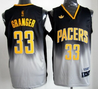 Indiana Pacers #33 Danny Granger Black/Gray Fadeaway Fashion Jersey