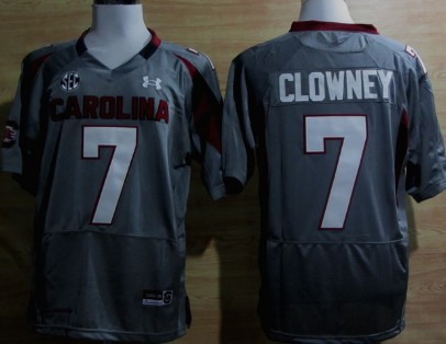 South Carolina Gamecocks #7 Jadeveon Clowney Gray Jersey