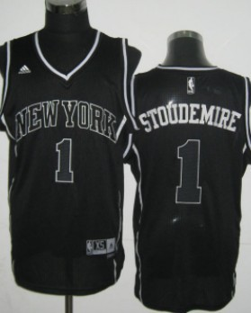 New York Knicks #1 Amare Stoudemire All Black With White Swingman Jersey