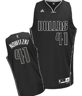 Dallas Mavericks #41 Dirk Nowitzki All Black With White Swingman Jersey