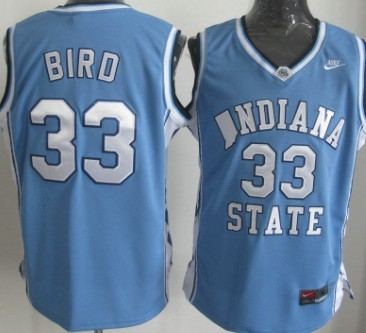 Indiana State Sycamores #33 Larry Bird Light Blue Authentic Jersey