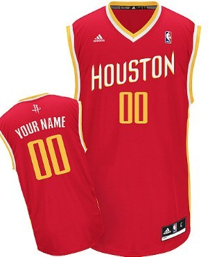 Mens Houston Rockets Customized Red With Gold Jersey