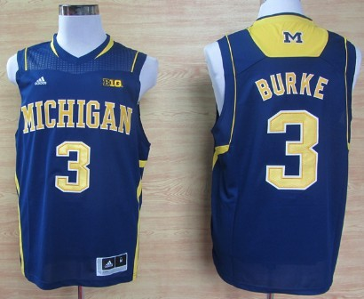 Michigan Wolverines #3 Trey Burke Navy Blue Big 10 Patch Jersey