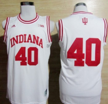 Indiana Hoosiers #11 Isiah Thomas White Big 10 Patch Jersey