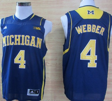 Michigan Wolverines #4 Chirs Webber Navy Blue Big 10 Patch Jersey