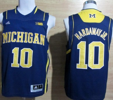 Michigan Wolverines #10 Tim Hardaway Jr. Blue Big 10 Patch Jersey