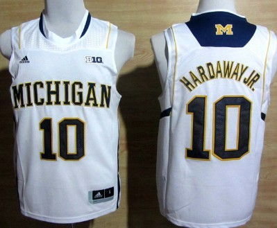 Michigan Wolverines #10 Tim Hardaway Jr. White Big 10 Patch Jersey