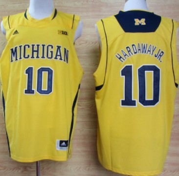 Michigan Wolverines #10 Tim Hardaway Jr. Yellow Big 10 Patch Jersey