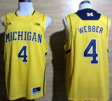 Michigan Wolverines #4 Chirs Webber Yellow Big 10 Patch Jersey