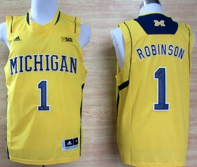 Michigan Wolverines #1 Glenn Robinson III Yellow Big 10 Patch Jersey