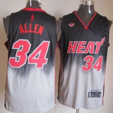 Miami Heat #34 Ray Allen Black/Gray Fadeaway Fashion Jersey