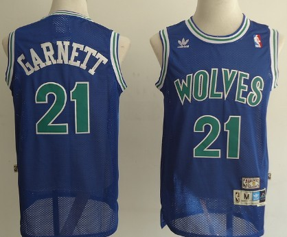 Minnesota Timberwolves #21 Kevin Garnett Blue Swingman Throwback Jersey