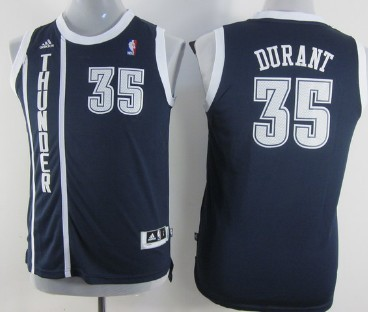 Oklahoma City Thunder #35 Kevin Durant Navy Blue Kids Jersey