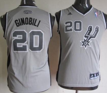 San Antonio Spurs #20 Manu Ginobili Gray Kids Jersey