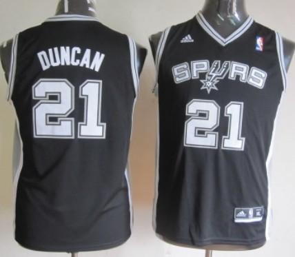 San Antonio Spurs #21 Tim Duncan Black Kids Jersey