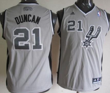 San Antonio Spurs #21 Tim Duncan Gray Kids Jersey