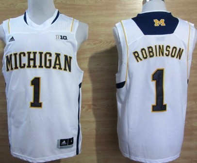 Michigan Wolverines #1 Glenn Robinson III White Big 10 Patch Jersey