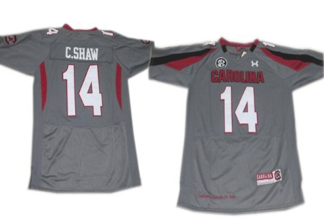 South Carolina Gamecocks #14 Connor Shaw Gray Jersey