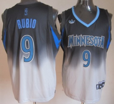 Minnesota Timberwolves #9 Ricky Rubio Black/Gray Fadeaway Fashion Jersey