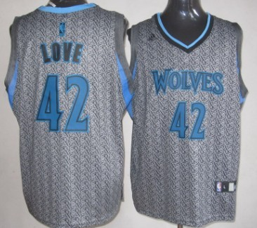 Minnesota Timberwolves #42 Kevin Love Gray Static Fashion Jersey