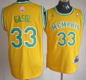 Memphis Grizzlies #33 Marc Gasol ABA Hardwood Classic Swingman Yellow Jersey