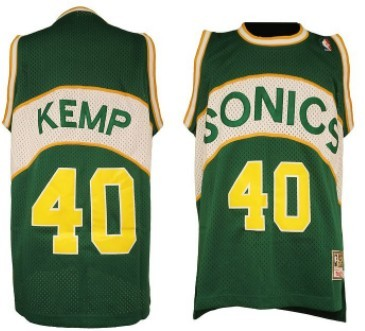 Seattle Supersonics #40 Shawn Kemp 1994-95 Green Swingman Throwback Jersey