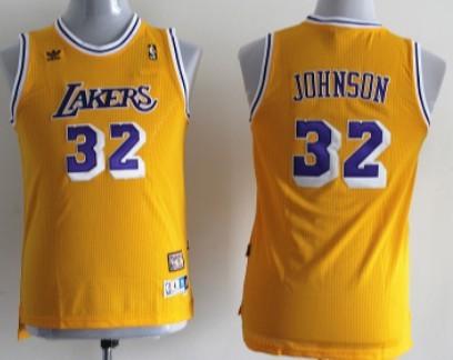 Los Angeles Lakers #32 Magic Johnson Yellow Swingman Throwback Kids Jersey
