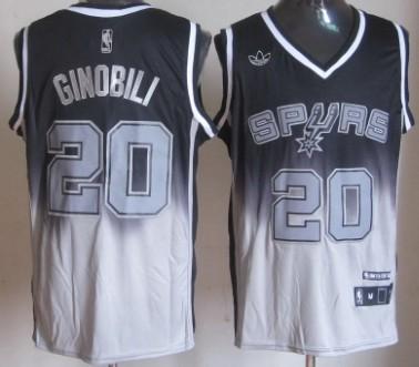 San Antonio Spurs #20 Manu Ginobili Black/Gray Fadeaway Fashion Jersey