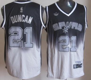 San Antonio Spurs #21 Tim Duncan Black/Gray Fadeaway Fashion Jersey
