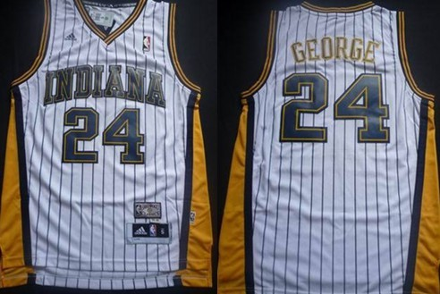 Indiana Pacers #24 Paul George White With Pinstripe Swingman Throwback Jersey