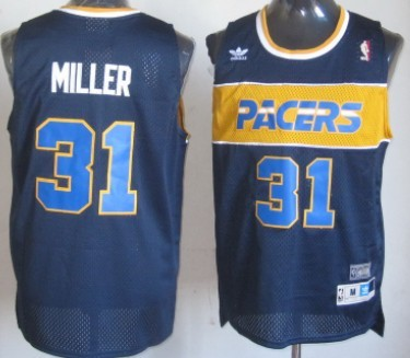 Indiana Pacers #31 Reggie Miller Hardwood Classic Navy Blue Swingman Throwback Jersey