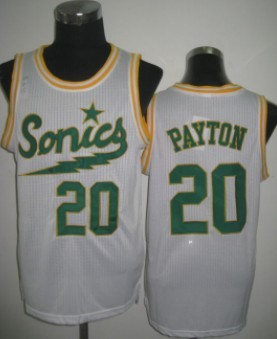 Seattle Supersonics #20 Gary Payton 2003-04 White Swingman Jersey