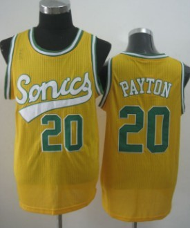 Seattle Supersonics #20 Gary Payton 2003-04 Yellow Swingman Jersey