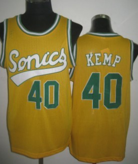 Seattle Supersonics #40 Shawn Kemp 2003-04 Yellow Swingman Jersey