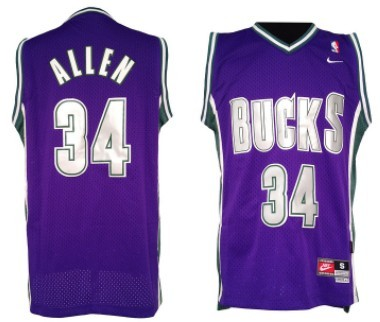 Milwaukee Bucks #34 Ray Allen Purple Swingman Throwback Jersey