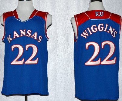 Kansas Jayhawks #22 Andrew Wiggins Blue Jersey