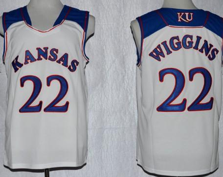 Kansas Jayhawks #22 Andrew Wiggins White Jersey