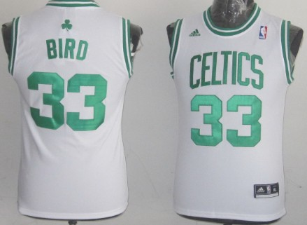 Boston Celtics #33 Larry Bird White Kids Jersey