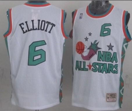NBA 1996 All-Star #6 Sean Elliott White Swingman Throwback Jersey