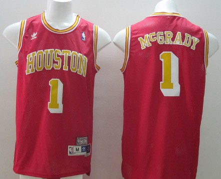 Houston Rockets #1 Tracy McGrady Red With Gold Swingman Throwback Jersey