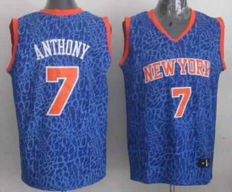 New York Knicks #7 Carmelo Anthony Blue Leopard Print Fashion Jersey