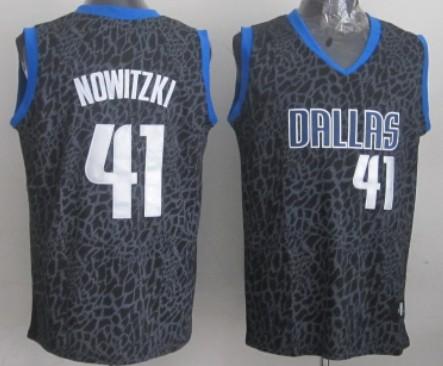 Dallas Mavericks #41 Dirk Nowitzki Black Leopard Print Fashion Jersey