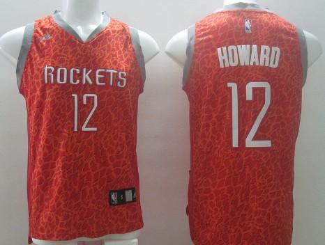 Houston Rockets #12 Dwight Howard Red Leopard Print Fashion Jersey