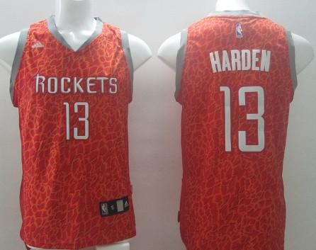 Houston Rockets #13 James Harden Red Leopard Print Fashion Jersey