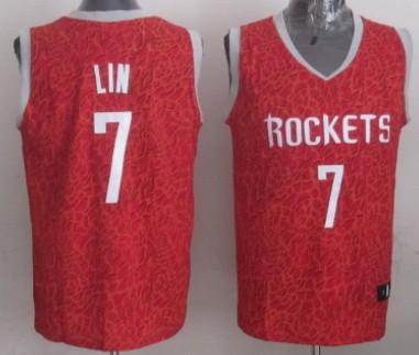Houston Rockets #7 Jeremy Lin Red Leopard Print Fashion Jersey